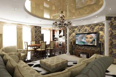 люстра и потолок в гостиной