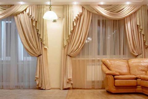 бежевые классические шторы